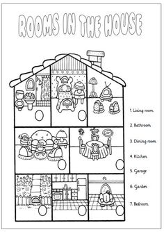 rooms of the house printable worksheets English Lessons For Kids, English Worksheets For Kids, English Resources, English Activities, School Worksheets, Vocabulary Activities, Printable Worksheets, English Primary School, English Class