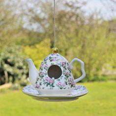 Vintage Floral Pink Teapot Bird Feeder