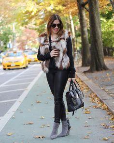 Fur vest & leather leggings