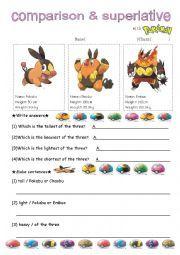 English worksheet: comparative superlative with pokemon 2
