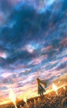 Anime picture with original bounin long hair single tall image brown hair cloud (clouds) standing wind sunlight from behind evening sunset glow cloudy sky girl dress grass transparent clothing Background Pictures, Art Background, Noragami, Fantasy Places, Fantasy Art, Anime City, Urban Nature, Landscape Concept, Beautiful Dream