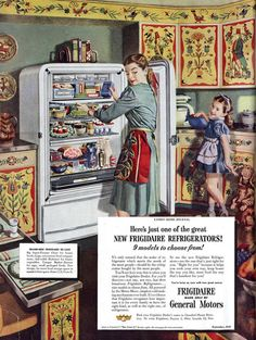frigidaire-refrigerator ad showing a very colorful vintage kitchen