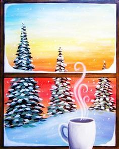 Cozy Cup of Coffee, window winter scene painting. - Cozy Cup of Coffee, window winter scene painting. Winter Scene Paintings, Winter Painting, Diy Painting, Painting & Drawing, Winter Scenes To Paint, Christmas Drawing, Christmas Paintings, Christmas Canvas, Christmas Art