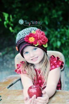 Girls Hat  Autumn Bouquet Cloche Crochet Hat by TinyTeapots, $30.00