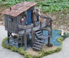 Miniature gardens 517491813406307251 - Fishing Shack Diorama Source by TrainBuildings Miniature Crafts, Miniature Houses, Miniature Gardens, Fairy Gardens, Fishing Shack, Fishing Rod, Fairy Houses, Doll Houses, Popsicle Sticks