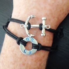 USCG Coast Guard Anchor Leather Cord Bracelet on Etsy