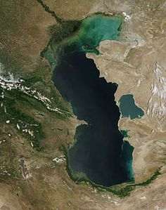 The Caspian Sea is the largest enclosed body of water on Earth by area, and is bounded by Russia, Iran, Kazakhstan, Turkmenistan, and Azerbaijan.