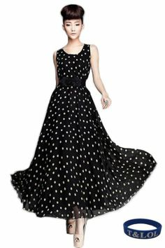 T&LOL 1PC 1pc WOMEN'S Bohemian Style O-neck Empire Waist TANK SEXY MAXI LONG BLACK WHITE POLKA DOT CASUAL BEACH SLEEVELESS CHIFFON VINTAGE COCKTAIL EVENING DRESS (L) T&LOL,http://www.amazon.com/dp/B00D748OKO/ref=cm_sw_r_pi_dp_JMGOsb083G6FY06K