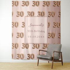 A tapestry for a girly and glamorous 30th birthday. A rose gold gradient background, and number 30 as a pattern written with a balloon style fon. Personalize and add her name and a date. The name is written with a modern hand lettered style script. Can be used as wall decor for the party, as a photo booth backdrop or welcome banner. 30th Birthday Party For Her, Gold Gradient, Birthday Roses, Welcome Banner, Rose Gold Pink, Photo Booth Backdrop, Gradient Background, Vivid Colors, Hand Lettering