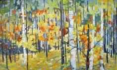Sheila Davis - Jeune Fraiche Autumn Painting, Fall Paintings, Sculpture Art, It Works, Birches, Abstract, Flowers, Art, Pintura