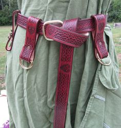 Celtic Heart Package, Leather Pouch, Leather Belt, Skirt Chasers, and Mug Strap Medieval, LARP, SCA. $120.00, via Etsy.
