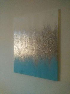 Handmade Abstract Glitter Painting Custom Modern Chic Home Decor Light Blue/Aqua - Leinwand - Decoration Clues