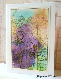 Watercolor : ink print of text, paintable wax flowers, watercolor wash?