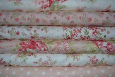 Tissu Patchwork Moda Pas Cher – Lot de 6 coupons - Collection Whitewashed Rose et Blanc