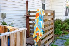 pallet project: outdoor shower area. When will I have my outdoor shower!? Argh.