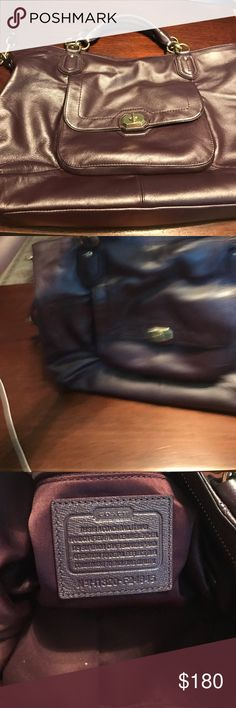 Coach purse Beautiful purple metallic with gold/brass hardware. Purse has been carried and stored in my closet. There is some wear and tear visible. Purse does have a shoulder strap. Coach Bags Shoulder Bags