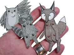 This is a great idea-Articulated Animal Paper Dolls Woodland Creatures Owl Fox Jenny Baughan Woodland Critters, Woodland Creatures, Woodland Animals, Paper Puppets, Paper Toys, Puppet Patterns, Doll Patterns, Paper Art, Paper Crafts