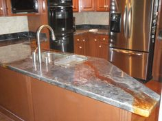 Acid Stain Concrete Countertop Looks Cool Er But With Inexpensive Look Stained