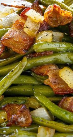 Sweet and Sour Green Beans Sweet and Sour Green Beans Tastes kind of like German potato salad only with green beans. The post Sweet and Sour Green Beans appeared first on Deutschland. Best Side Dishes, Vegetable Sides, Vegetable Side Dishes, German Side Dishes, Healthy Vegetable Recipes, Healthy Vegetables, Fruits And Veggies, Roasted Vegetables, Green Bean Recipes