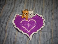 ceramic heart dish with my friend Maryann's two dogs Loopie and Mindy.