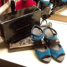 Colin Stuart wedges, size 7.5 Beautiful turquoise ,suede, ankle wrap wedges with metal detail.  These are in excellent condition, and have been worn very few times. Colin Stuart Shoes Wedges