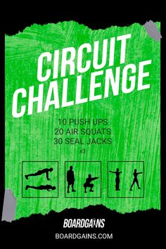 Spice up your workout routine with this circuit challenge. Get your cardio in while doing fun and effective exercises! Gym Guide For Beginners, Gym Workout For Beginners, Fitness Games For Kids, Exercise For Kids, Fit Board Workouts, Fun Workouts, Fitness Workouts, Group Fitness Classes, 30 Day Workout Challenge