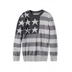Maglia misto cashmere, lana e viscosa con intarsio a righe e stelle. Collo, polsi e fondo in costina.1032Q1094 GREY