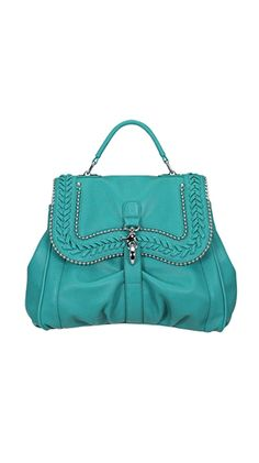 Chanelle  Top Handle Messenger W/Chain & Woven Trim  by Melie Bianco