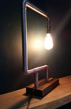 Copper pipe Lamps- The start.for me — Dan carter creations Pipe Lighting, Copper Lighting, Industrial Lighting, Lighting Design, Light Fittings, Light Fixtures, Luminaria Diy, Desk Lamp, Table Lamp