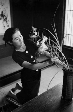 Marc Riboud Art of Ikebana. Masui Kazuko, Tokyo, Japan - 1958