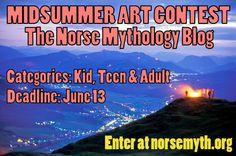 MIDSUMMER ART CONTEST: The Norse Mythology Blog art contest has kid, teen & adult divisions. Judges are Joanne Harris (author of Runemarks, Runelight & The Gospel of Loki) & Joris van Gelre (as Joris Boghtdrincker, lyricist & frontman of Dutch pagan folk metal band Heidevolk for 10 years). Details & rules: http://www.norsemyth.org/2014/05/art-contest-midsummer-2014.html
