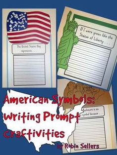 American Symbols {Statue of Liberty, American Flag, Mount Rushmore} Writing Prompt Craftivities (86 pages)--a fun way to add a craft and a writing assignment... TpT$