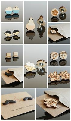 Anything from moustache and little vintage hat to a diamond or magnolia flower. These unique little wooden earrings come in all shapes and you can even design your own at jslasercraft.co.uk