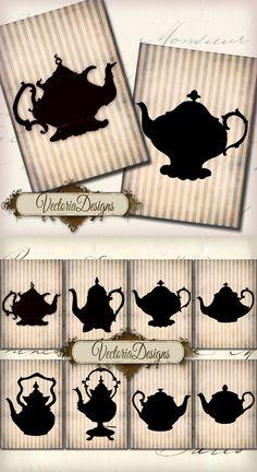 Printable Teapot Silhouettes ATC