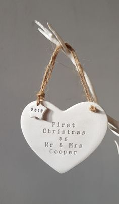 Handmade heart decoration Personalised Christmas Decorations, Heart Decorations, Jute Twine, New Parents, First Christmas, Thoughtful Gifts, Polymer Clay, Gift Wrapping, Christmas Ornaments