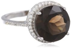 Sterling Silver Brown Smoky Topaz and Created White Sapphire Ring, Size 7 -