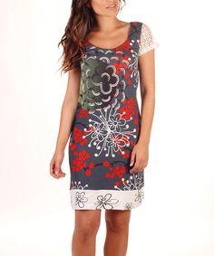 Look at this #zulilyfind! Gray & Red Floral Sheath Dress #zulilyfinds $34.99 - Avispada