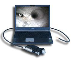 http://www.termometer.se/Video-Endoskop-9x450-mm.html  Video-Endoskop 9x450 mm  9 mm diameter och längd 450 mm. Ett högkvalitativt videoskop som arbetar enligt principen mikrokamera-chip i spetsen på instrumentet. Härifrån skickas bilden med kabel till instrumenthuset. På så sätt sker ingen optisk dämpning som är fallet med traditionella fiberskop. Upplösningen blir härvidlag betydligt bättre - 1,3 Mpixels. Du kopplar videoskopet direkt till din PC:s USB-ingång...