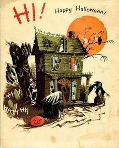 Vintage Halloween Illustration at DuckDuckGo Retro Halloween, Vintage Halloween Cards, Halloween Horror, Vintage Holiday, Holidays Halloween, Halloween Crafts, Halloween Decorations, Halloween Stuff, Halloween Artwork