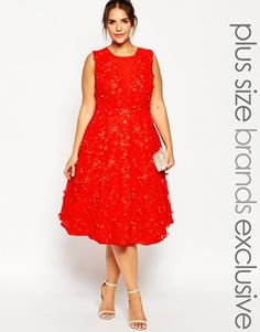 Chi Chi London Plus 3D Floral Embellished Midi Dress