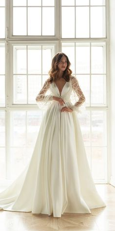 36 Chic Long Sleeve Wedding Dresses ❤  long sleeve simple princess with train evalendel #weddingforward #wedding #bride Long Sleeve Gown, Long Sleeve Wedding, Groom Attire, Wedding Gowns, Bodice, Princess, Chic, Lace, Inspiration