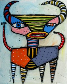 original HUGHART abstract fantasy mythological folk art funky painting TWO HORNS #OutsiderArt