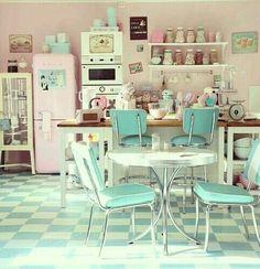 50's style pastel kitchen