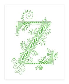 Hand drawn monogrammed print, 8x10, the Letter Z, in the color green