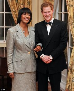 3/7/12, State Dinner, Jamaica: Prince Harry and the Jamaican Prime Minister Portia Simpson Miller