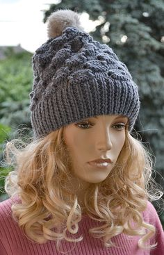 Knitted gray cap/hat  FUR POMPOM by DosiakStyle on Etsy ♡ ♡