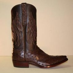 Lugus Mercury Nicotine Ostrich Custom Cowboy Boot with Inlayed Tops - This custom cowboy boot is made of a nicotine brown color full quill ostrich with ostrich inlays and ostrich ear pulls to finish the look. The shaft is a hand-stitched chocolate brown buffalo calf that blends with this nicotine brown pin ostrich perfectly.