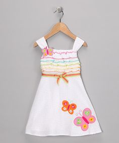 White Butterfly Dress - Infant ~$11.99 by 'Baby Basics Collection'