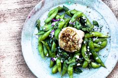 Salted Edamame with Roasted Garlic and Herbs, supposed to be similar to Ola at Turtle Bay