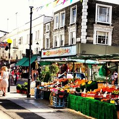 The sunny Portobello Market on a sunny day! SO MANY GREAT CAFES TO SIT BACK AND WATCH THE PEOPLE GO BY.